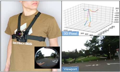 A trio of photos illustrate how MonoEye captures body pose in three dimensions, as well as the user's perspective.